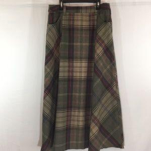 Liz Claiborne Wool Plaid Maxi Skirt